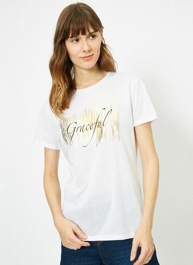 Koton Koton Slogan Baskılı T-Shirt Ekru